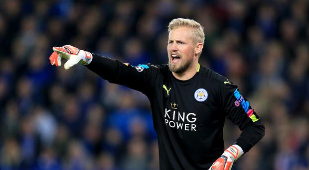 Leicester and England legend Peter Shilton met Foxes goalkeeper Kasper Schmeichel after their 2-0 Champions League win over Sevilla.