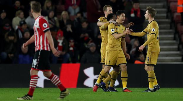 Son Heung-min, centre right, celebrates scoring against Southampton earlier this season