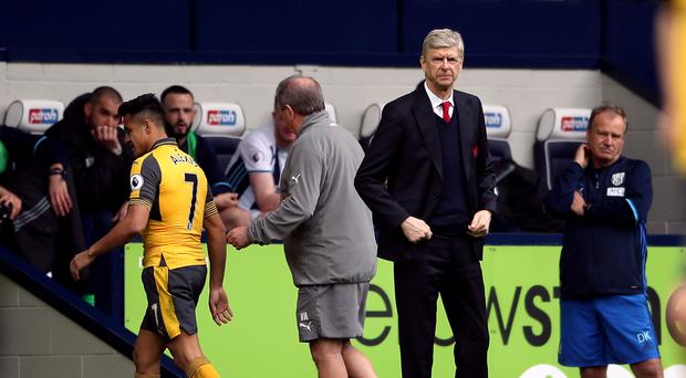 Alexis Sanchez was taken off by manager Arsene Wenger during the 3-1 defeat at West Brom
