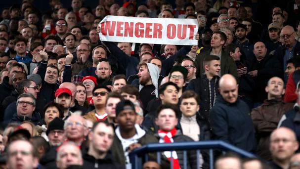 Some of Arsenal's travelling fans called for the departure of under-pressure manager Arsene Wenger