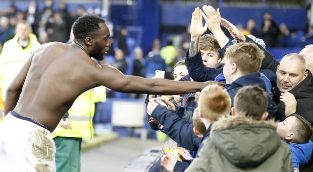 Romelu Lukaku, left, remained popular with the Everton fans