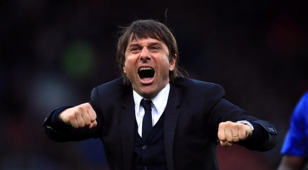 Antonio Conte shows his delight after Chelsea's win