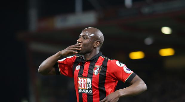 AFC Bournemouth's Benik Afobe celebrates scoring his side's second goal of the game during the Premier League match at the Vitality Stadium, Bournemouth.