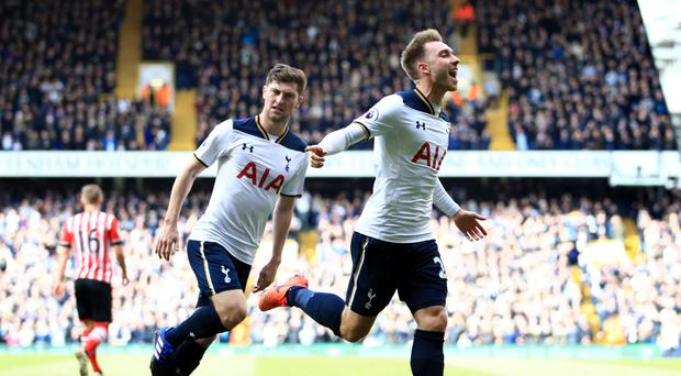 Christian Eriksen, right, was the man of the match in Tottenham's victory over Southampton