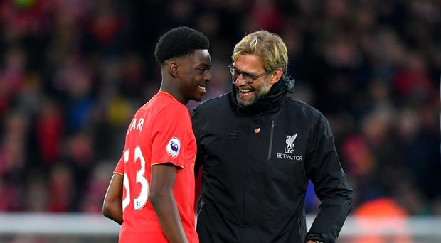 Ovie Ejaria (left) with Liverpool boss Jurgen Klopp