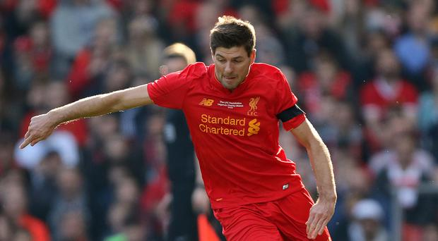 Steven Gerrard stole the show in a charity match at Liverpool