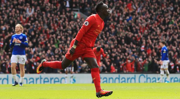 Liverpool's Sadio Mane celebrates scoring his side's first goal