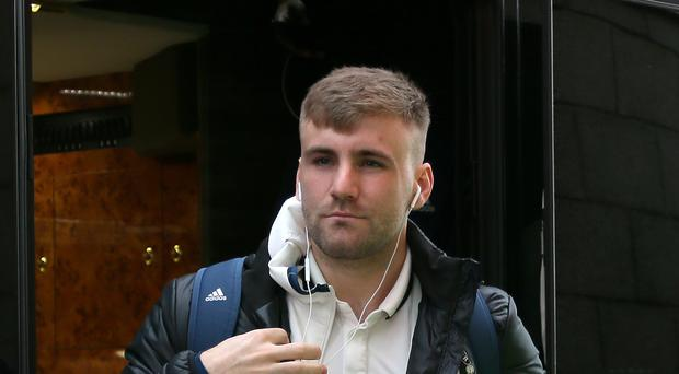 Luke Shaw checked into the team hotel with the rest of the Manchester United squad