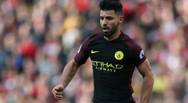 Sergio Aguero, pictured, could match Frank Lampard's scoring record in Chelsea-Manchester City fixtures