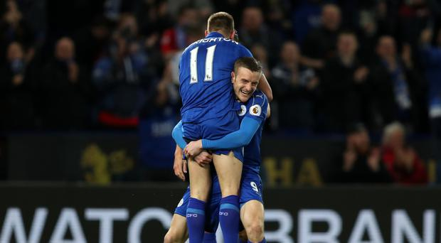 Leicester's Jamie Vardy celebrates his goal with Marc Albrighton in their 2-0 win over Sunderland.