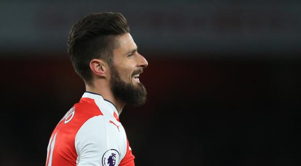 Arsenal's Olivier Giroud celebrates scoring his side's third goal