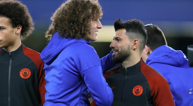 David Luiz, left, and Sergio Aguero went head to head in Chelsea's clash with Manchester City
