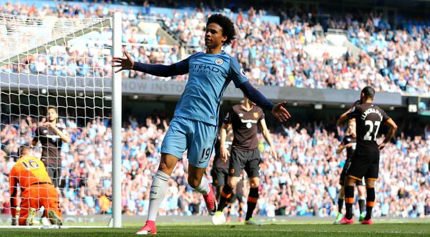 Manchester City's Leroy Sane celebrates after an own goal from Hull City's Ahmed Elmohamady