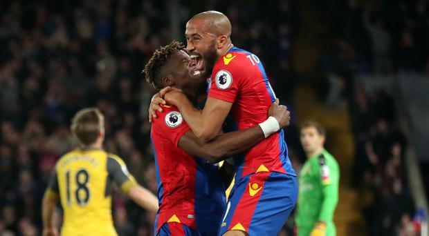 Wilfried Zaha, left, and Andros Townsend tormented Arsenal