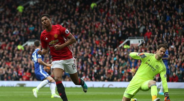Manchester United's Marcus Rashford celebrates his first-half goal