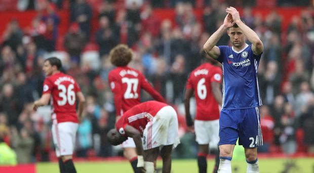 Gary Cahill was left feeling angry at Chelsea's display at Manchester United on Sunday.