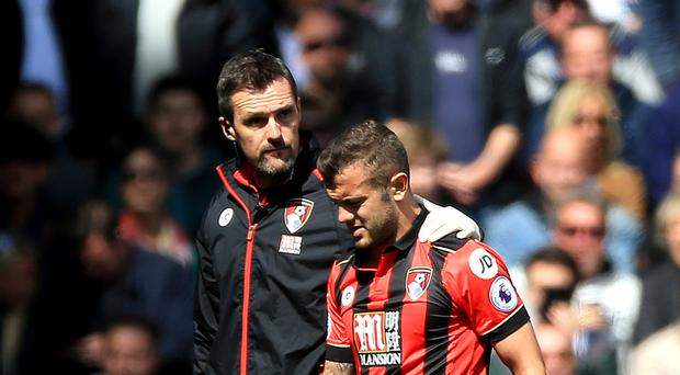 Midfielder Jack Wilshere who is on loan at Bournemouth from Arsenal faces a spell of recovery following a fractured leg