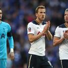 Harry Kane, centre, scored in Tottenham's 4-2 defeat to Chelsea.