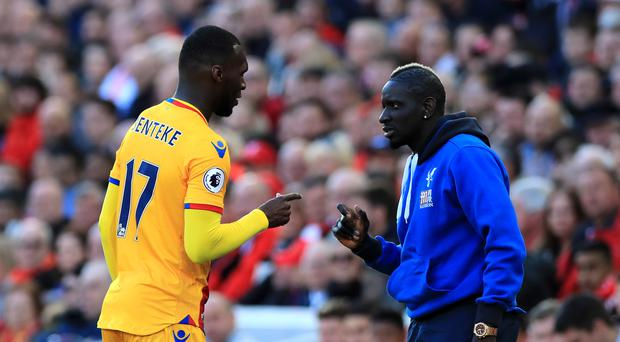 Christian Benteke, pictured left, celebrates his first goal with Mamadou Sakho