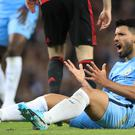 Manchester City's Sergio Aguero reacts during the Premier League match at the Etihad Stadium, Manchester.