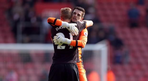 Hull goalkeeper Eldin Jakupovic celebrates with Michael Dawson after the Premier League match at St Mary's