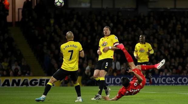 Emre Can's acrobatic finish saw Liverpool earn a 1-0 win against Watford