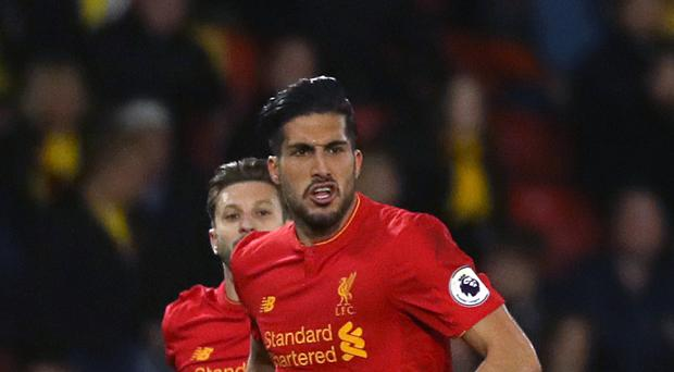 Liverpool's Emre Can celebrates scoring at Watford