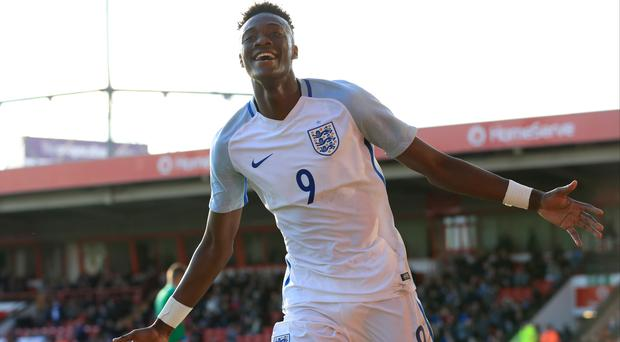 Tammy Abraham scored twice on his full England Under-21 debut against Bosnia in October