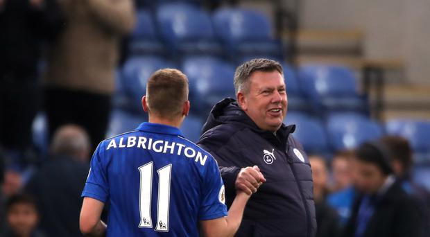Leicester manager Craig Shakespeare celebrates with Marc Albrighton after their 3-0 win over Watford