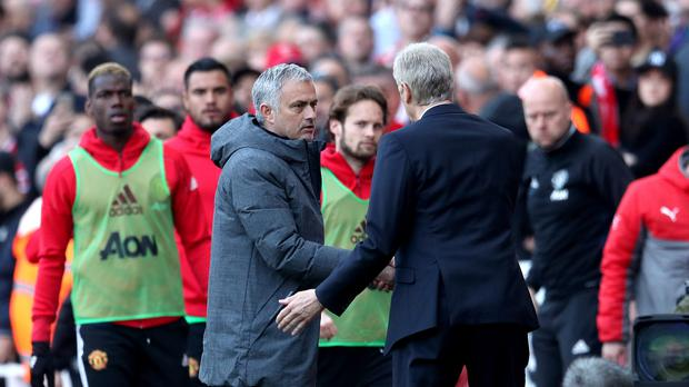 Jose Mourinho, left, tasted defeat against Arsene Wenger for the first time in the Premier League
