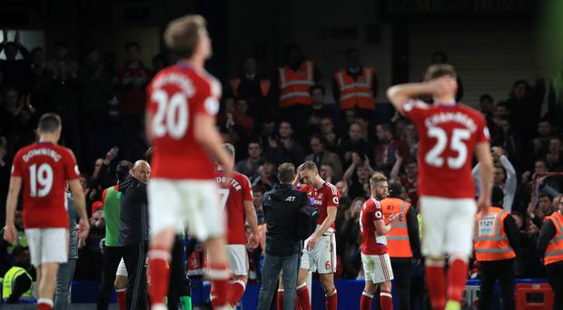 Defeat at Chelsea relegated Middlesbrough