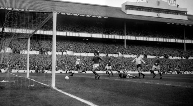 Jimmy Greaves (left) scores in Tottenham's 5-1 rout of Manchester United in 1965