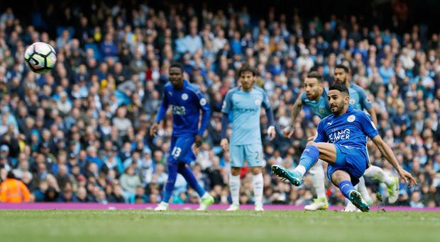 Leicester's Riyad Mahrez scores from the penalty spot but it was disallowed