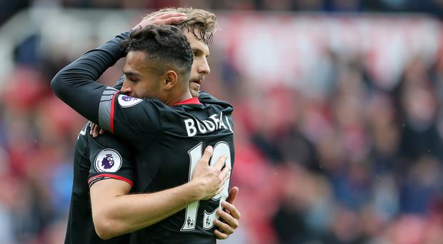 Jay Rodriguez, left, celebrates his goal with Sofiane Boufal, right
