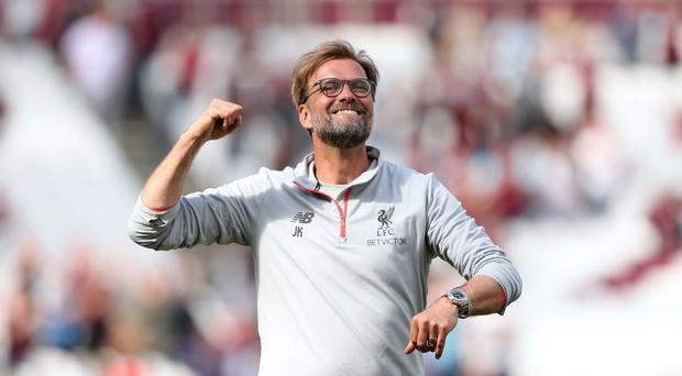Liverpool manager Jurgen Klopp celebrates after the final whistle against West Ham
