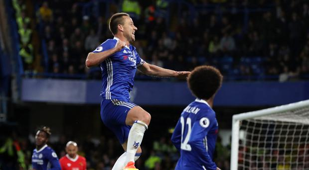 John Terry celebrates scoring for Chelsea against Watford