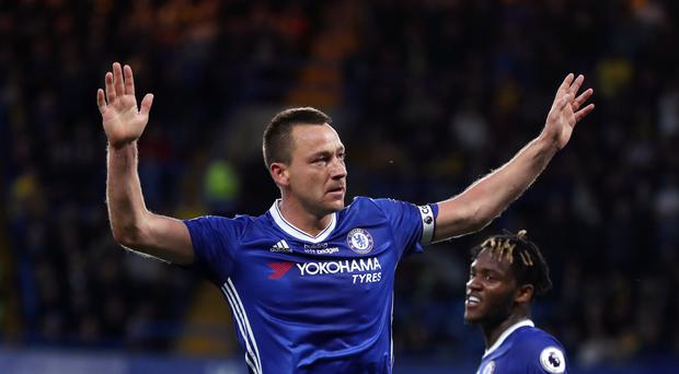 John Terry celebrates scoring the opening goal for Chelsea