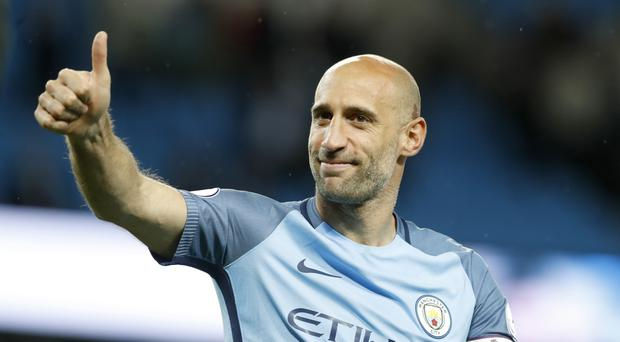 Pablo Zabaleta said farewell to the Etihad Stadium as Manchester City beat West Brom 3-1