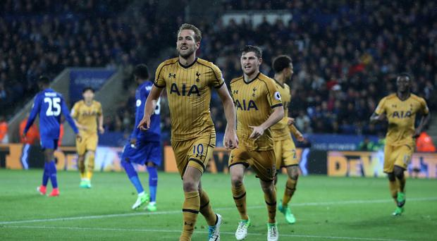 Tottenham striker Harry Kane scored four times as Spurs won 6-1 at Leicester.