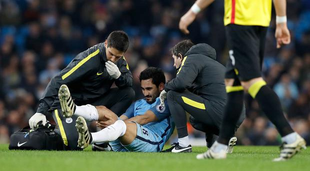 Ilkay Gundogan was injured playing against Watford in December