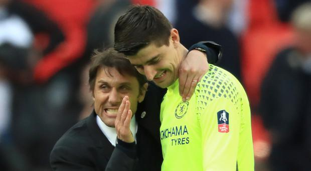 Chelsea could face headaches over Antonio Conte, left, and Thibaut Courtois, right
