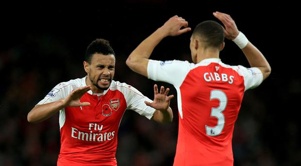 Francis Coquelin, left, and Kieran Gibbs contributed to Arsenal's tally of homegrown players