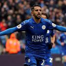 Riyad Mahrez celebrates scoring for Leicester against Watford last season