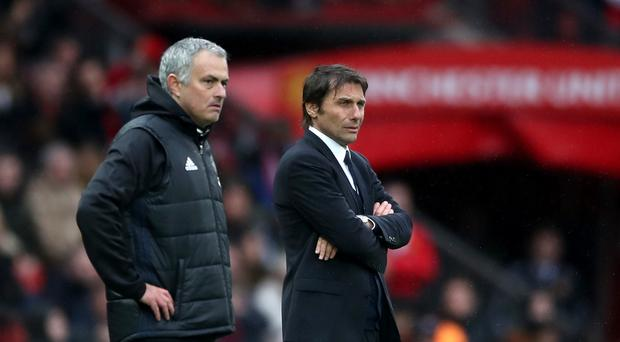 Antonio Conte, pictured right, is eager to avoid a Chelsea collapse like the one suffered under Jose Mourinho, left