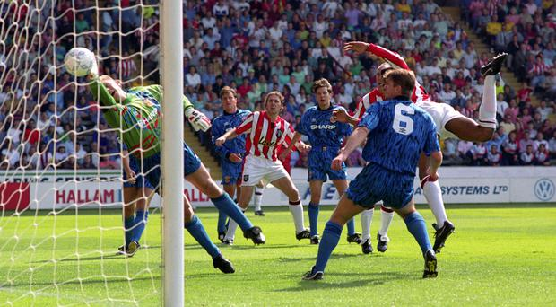 Brian Deane, pictured right, scored the Premier League's first goal in August 1992