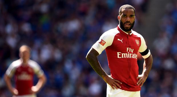 Arsenal's club record signing Alexandre Lacazette hit the post against Chelsea
