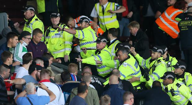 Police contained Hannover fans at Turf Moor