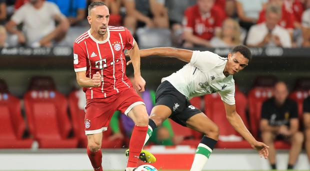 Liverpool's Trent Alexander-Arnold, right, impressed when he went up against Franck Ribery of Bayern Munich, left, in a recent friendly.