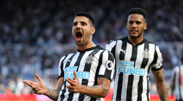Newcastle's Aleksandar Mitrovic scored the third goal against West Ham