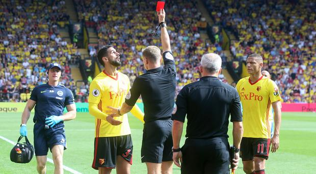 Watford's Miguel Britos has been sent off three times in 20 Premier League matches